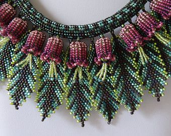 """Tropical Flowers and Leaves"" - beadwoven necklace (mainly herringbone stitch), by gayhuntley on Etsy."