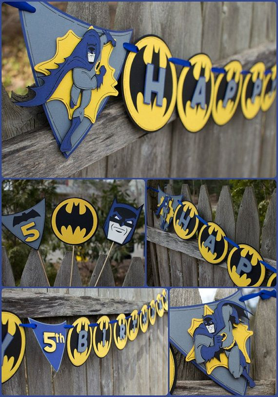 Batman Birthday Banner by 4HeartsPaperCraftCo on Etsy