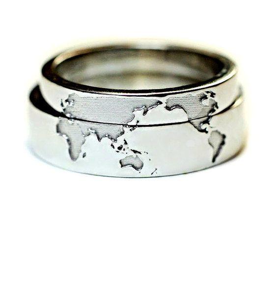 vendas de boda de viajeros oro de 14 k. Bandas por JewelryEscorial
