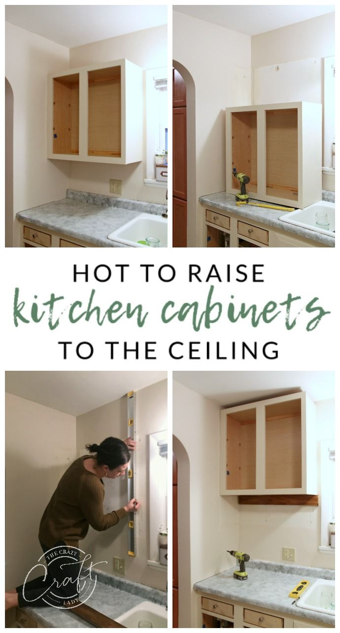 Genius Diy Raising Kitchen Cabinets And Adding An Open Shelf Cabinets To Ceiling Diy Kitchen Remodel Kitchen Cabinets To Ceiling