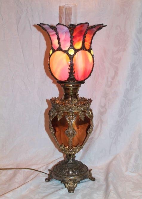 RARE EXCEPTIONAL Cherub Figural Banquet Lamp ~RARE Slag Glass SHADE~  Electrified ~Original Parts