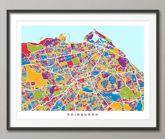 Edinburgh, Scotland, City Street Map, art print    Frame/Matte is not included.  Available sizes are shown in the SELECT A SIZE drop down menu above the