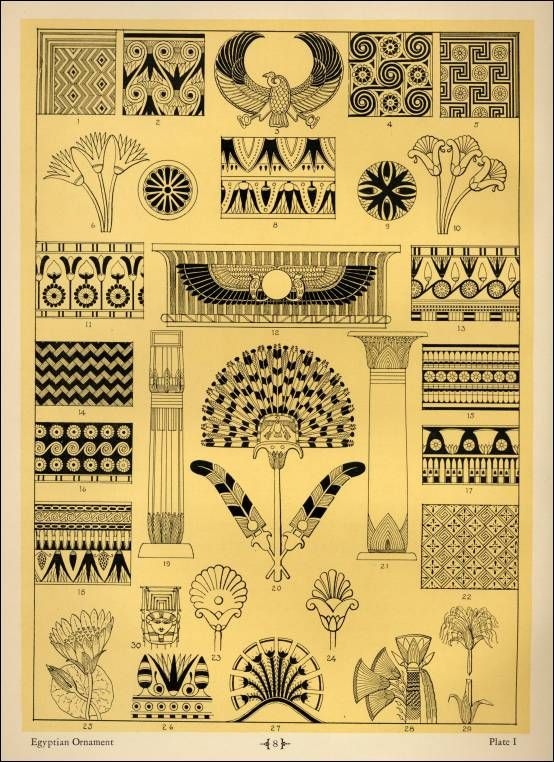 """Egyptian Ornamentation Patters in """"Sources of Memorial Ornamentation"""""""