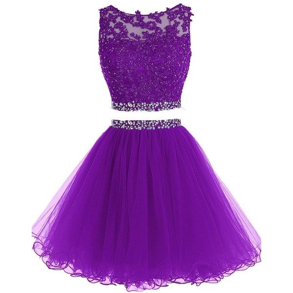 HTYS Beaded Two Pieces Prom Dresses Applique Short Homecoming Dresses... (195 QAR) ❤ liked on Polyvore featuring dresses, beaded prom dresses, short purple dresses, short beaded dress, two piece prom dresses and 2 piece dress