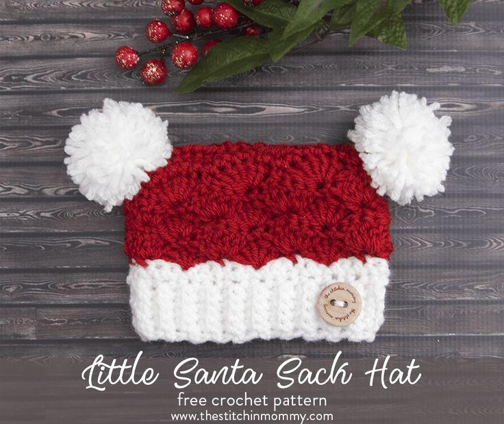 Little Santa Sack Hat - Free Crochet Pattern in 8 Sizes | www.thestitchinmommy.com