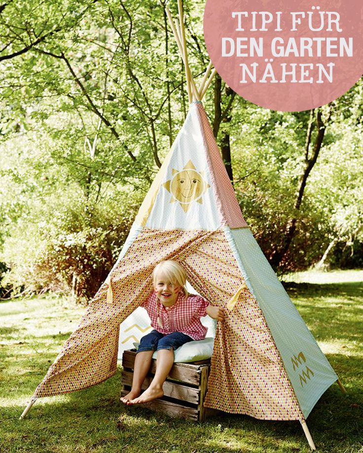 diy anleitung tipi f r den garten n hen via. Black Bedroom Furniture Sets. Home Design Ideas