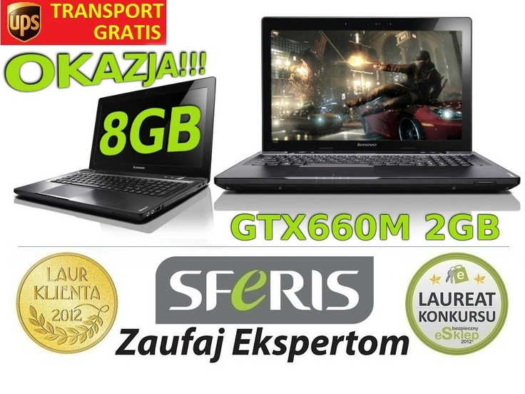 HIT Laptop LENOVO Y580 i3 15,6 8GB 1TB GTX660M_2GB