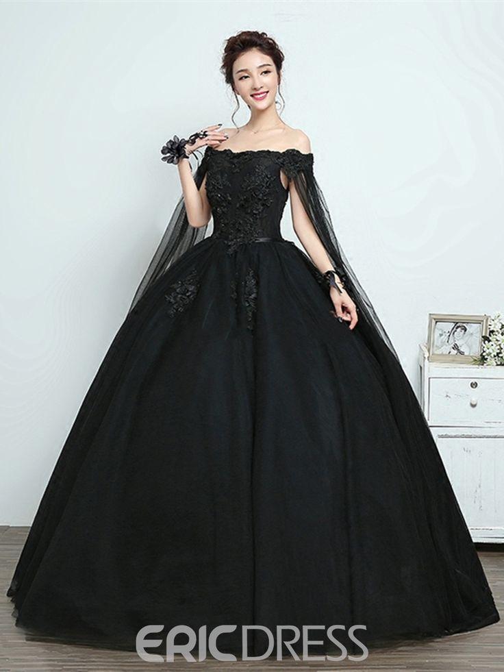 Ericdress Bateau Appliques Flugelarmel Schwarz Quinceanera Kleid Alles Ist Da Abschlussfeier Kleider Hochzeit Kleidung Schwarzes Kleid Zur Hochzeit