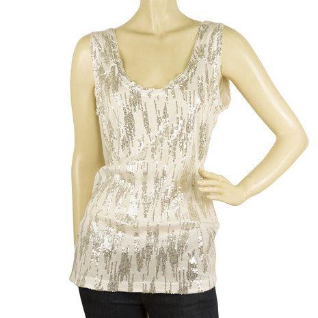DVF Diane Von Furstenberg Maconda Silky Sequined White Silver Top Tank Vest S