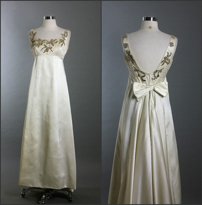 Vintage 50s 60s Elegant Beaded Ann Lowe Empire Satin Party Wedding Dress