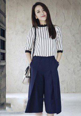Stripe Top Bottom Set Wear Mysallyfashion Malaysia Plus Size Jumpsuitoffice
