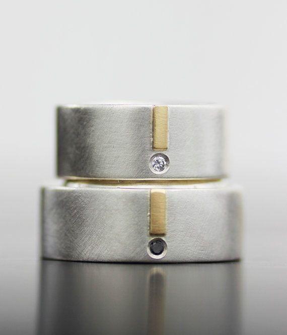 Image of black and white diamond gold tab set