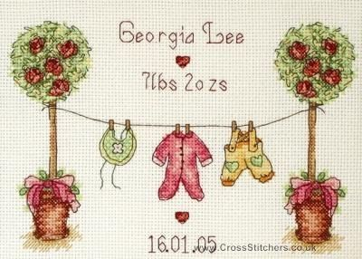 cross stitch patterns baby girl sampler | Birth Samplers - Birth Sampler - Cross Stitch Celebration Kit from ...