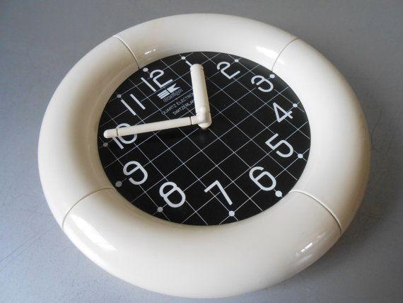 SALE - Vintage 1980s Bengt Ek Design Wall Clock. Black and White Plastic. Retro 80s Grid Print. Swiss Made. Mid Century Modern Scandinavian