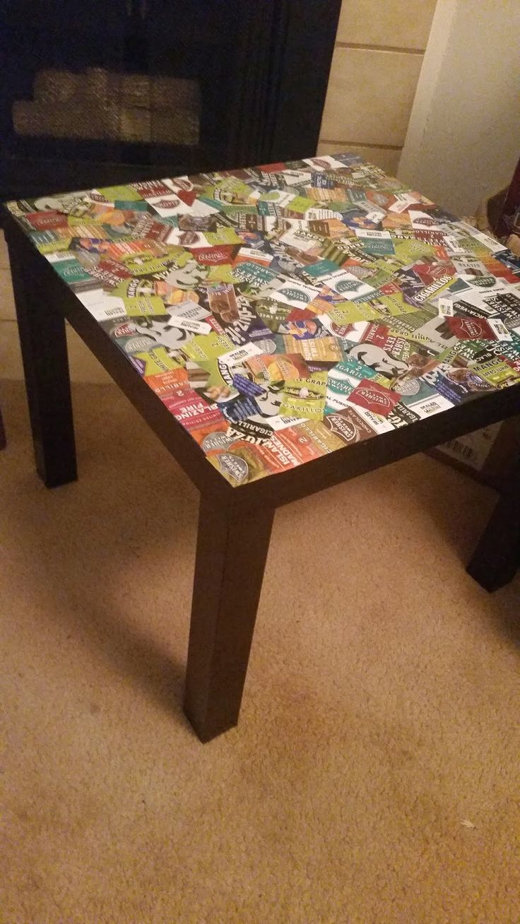 Custom Cigarillo Table. Old Cigar Wrappers, Modgepodge, Ikea Table.