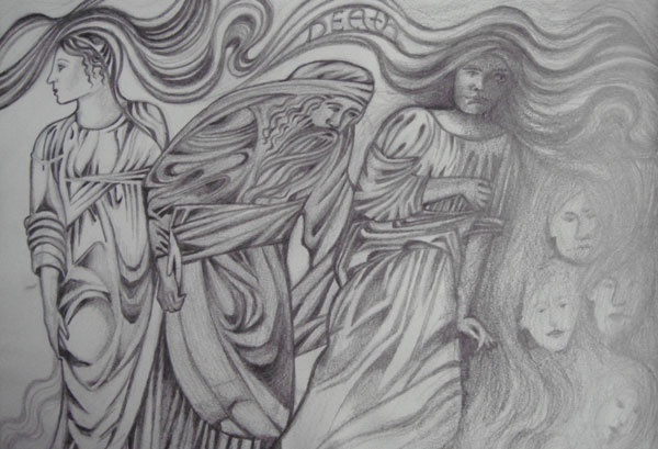 journey with death. A drawing in pencil