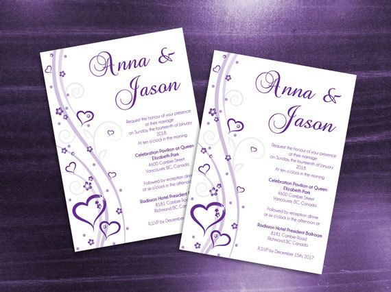 DIY Printable Wedding Invitation Card Microsoft Word Template - Purple Heart Romance for Valentine's Day, Weddings and Events.
