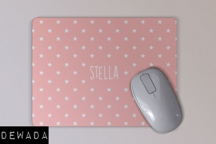 pink personalized mouse pad with white little stars by DeWadaSTORE on Etsy
