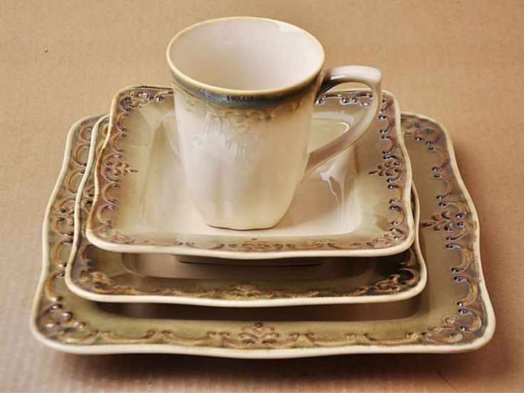 white stoneware square dinnerware with brown embossment rim & 11 best Dishes images on Pinterest | Dinnerware sets Dish sets and ...