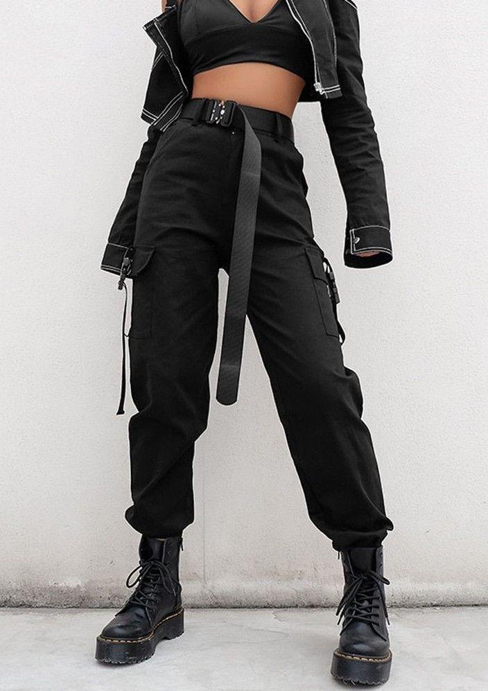 Lose schwarze Hose mit hoher Taille – #fashion #hose #streetwear – #schwarzes #fas