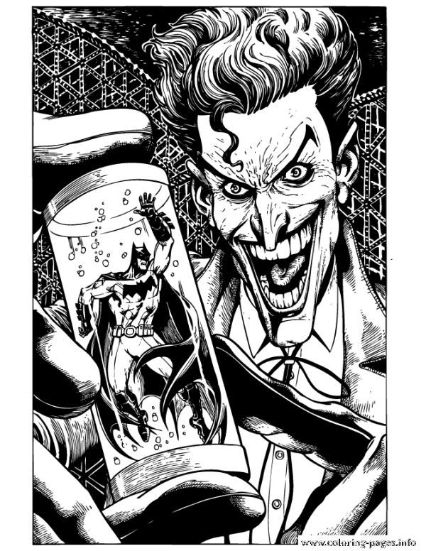 Joker Holding Batman In Tube Coloring Pages Printable Who Doesn T Know Batman Maybe All Dc Fans And Superhero M Joker Art Joker Artwork Batman Coloring Pages