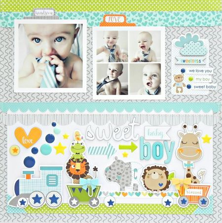 Bella Blvd Cute Baby Boy collection. Sweet Baby Boy layout by creative team member Stephanie Buice.