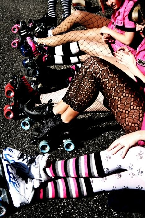 Roller derby  .... I want those lace leggings! Photo By Jeff Miller!