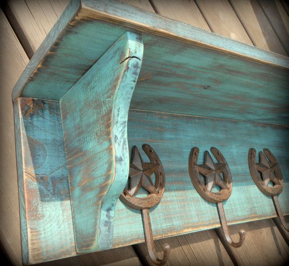 Rustic Coat Rack Shelf Texas Star Hooks by TheHenryHouse on Etsy