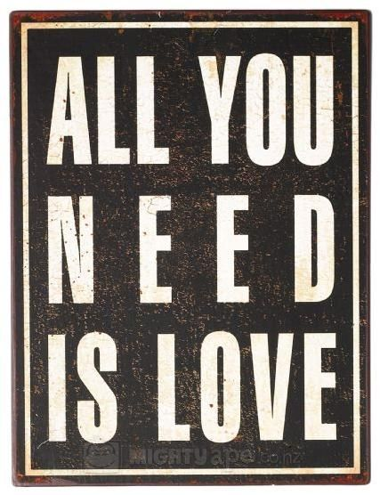 General Eclectic Iron Sign All you Need Is Love  | at Mighty Ape NZ