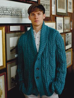 Knit this mens cable jacket from the Softknit Collection, a design by Martin Storey using Softknit Cotton, a wonderful cotton drape yarn (cotton and polyamide). With shawl collar and set in sleeves, this knitting pattern is suitable for the more experienced knitter.