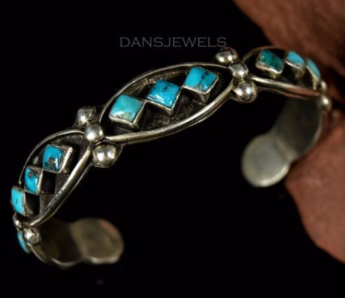 Old-Pawn-Navajo-FRED-HARVEY-ERA-50-039-s-Turquoise-Sterling-Bracelet