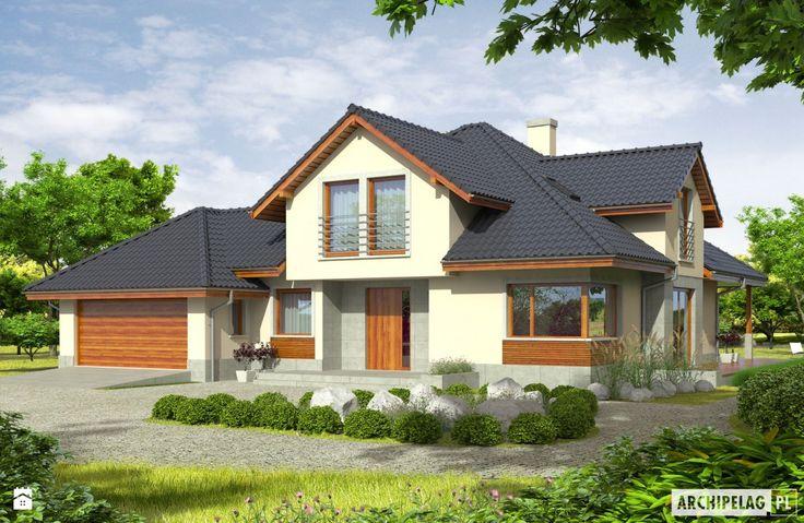 Projekt domu Naomi G2 - ujęcie frontowe - zdjęcie od Pracownia Projektowa ARCHIPELAG - Domy - Styl Tradycyjny - Pracownia Projektowa ARCHIPELAG