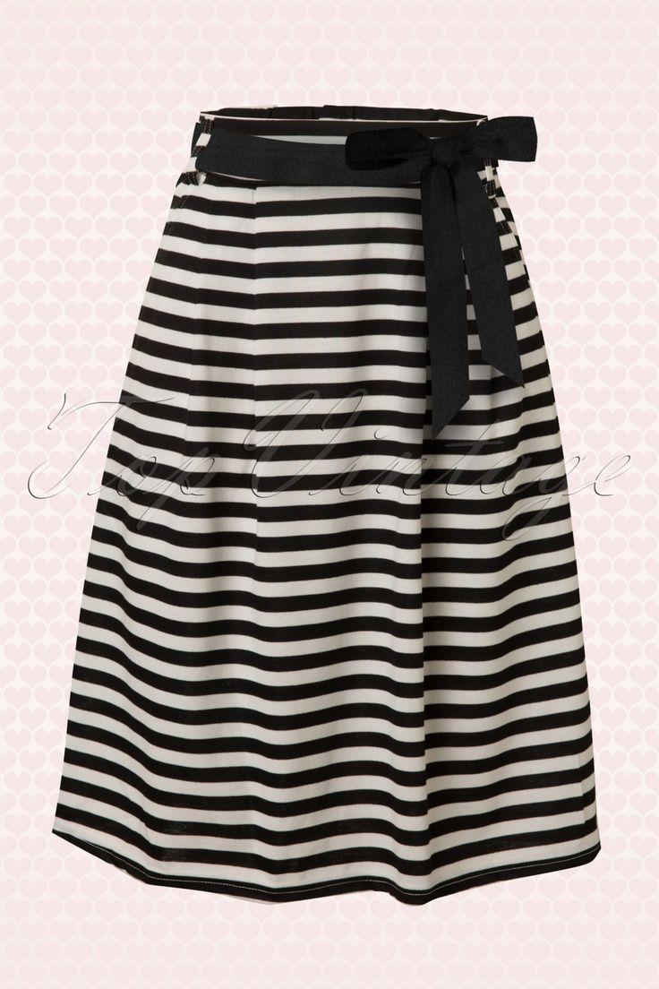 Mikarose - 50s Striped Sailor A-Line Skirt in Black