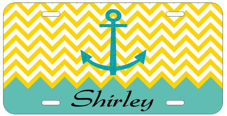 Personalized Monogrammed Chevron Anchor Glitter License Plate Custom Car L085