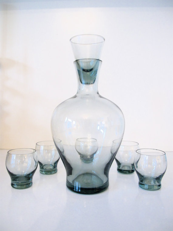 Mid Century Scandinavian Handmade Glass Decanter Set