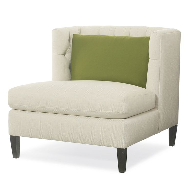 Abbey Armless Chair, Modern Tufted Chair In White, Kiwi Green Accent Pillow