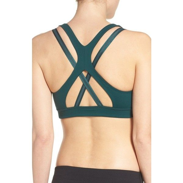 Women's Zella Impulse Sports Bra ($49) ❤ liked on Polyvore featuring activewear, sports bras, green ponderosa, zella sports bra, zella, zella activewear, strappy sports bra and zella sportswear