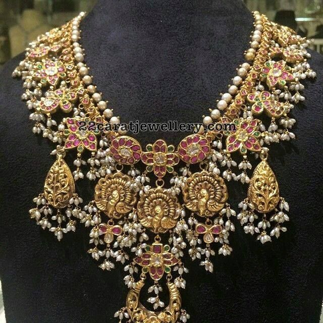 Peacock Leafy Clasps Guttapusalu Necklace - Jewellery Designs