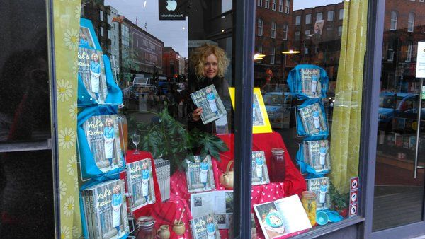 Valerie O'Connor checking that all is okay in O'Mahony's Booksellers Limerick, ahead of her book launch for Val's Kitchen!