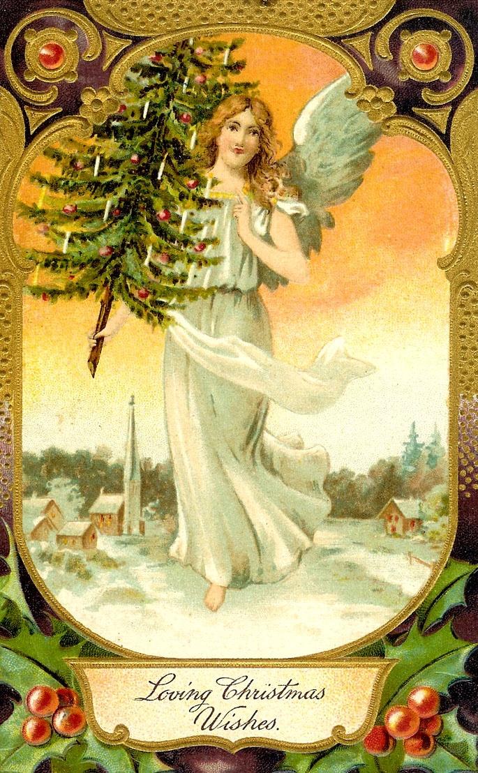 Днем рождения, ангел открытка 19 века