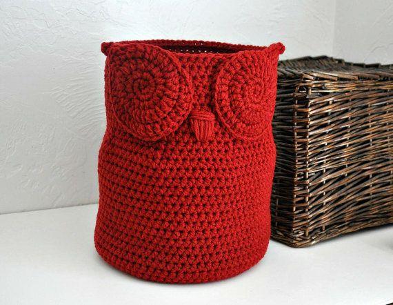 Grande gufo cesto asciugamano Bin giocattolo di AandBDesignStudio
