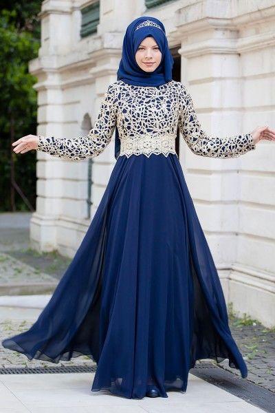 d5beabf605cb1 Lacivert Kafes Dantelli Tesettür Abiye Elbise | abiye elbise | Giyim ...