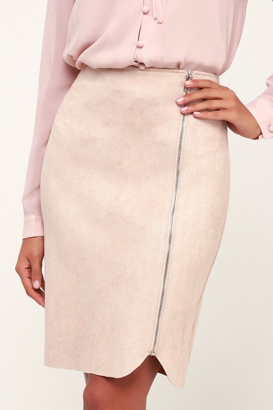 dcc108ec8 Lulus | Margeaux Blush Suede Pencil Skirt | Size Large | Pink ...