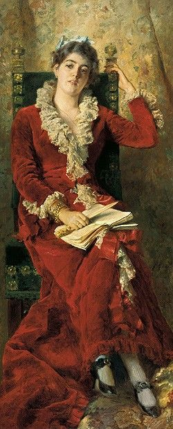 Konstantin Makovsky (Russian, 1839-1915) - Portrait of Julia Makovsky (The Artist's Wife), 1881