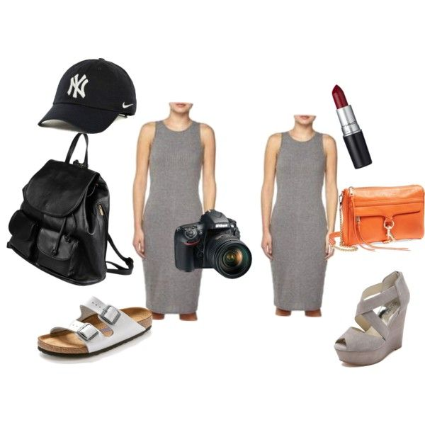 New York outfit- grey knit dress two ways by jasmine-adisbeth on Polyvore featuring мода, Birkenstock, MICHAEL Michael Kors, PARENTESI, Rebecca Minkoff, NIKE, M.A.C and Nikon