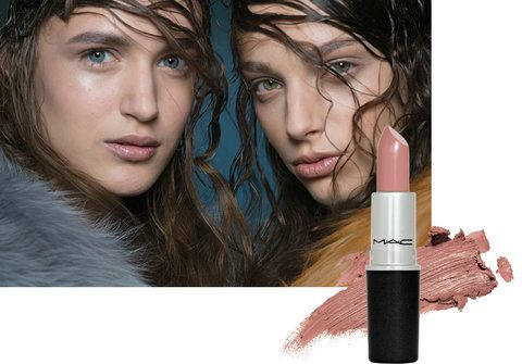 Models with a tangled wet-hair look, shiny skin and nude, barely there lip color at the fall 2014 Marni show; M.A.C. cosmetics A Novel Romance lipstick in Myself
