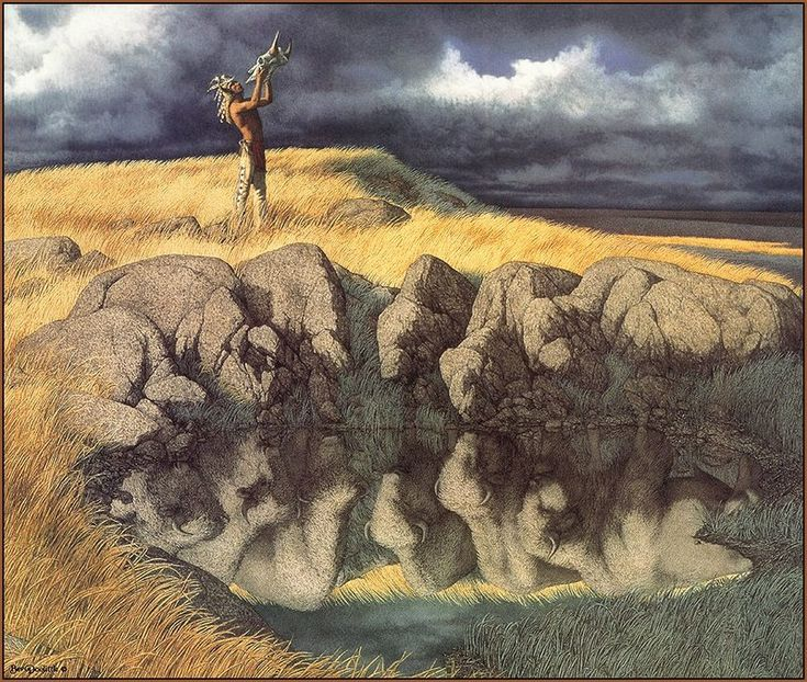 bev doolittle paintings | LRS Art Medley] Bev Doolittle, Calling the Buffalo; DISPLAY FULL ...