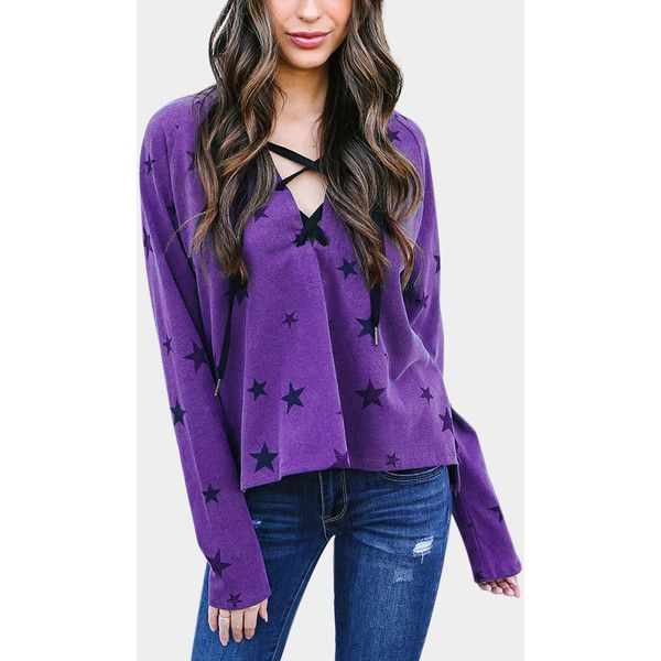 Yoins Purple Cool Star Print Hooded Design Tee (27 AUD) ❤ liked on Polyvore featuring tops, t-shirts, purple, long sleeve tops, long sleeve tees, long sleeve hooded t shirt, laced up top and purple top