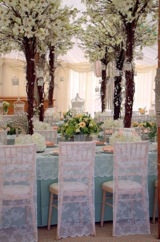 our styling using @Allison House! of Bunting chair slips flower trees by Essential wedding hire - #mint #peach #birdcage #wedding #lace #marquee