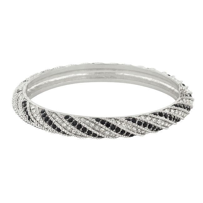 Twisting Black and White Cubic Zirconia Bangle